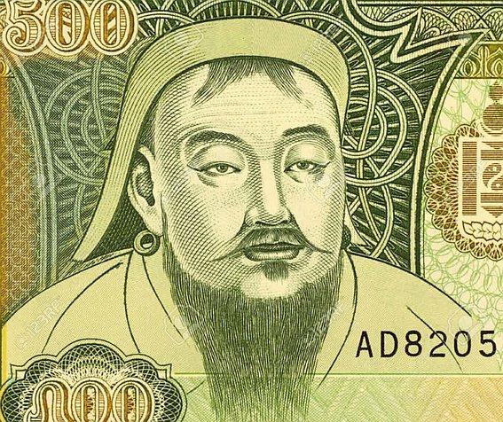 Чингисхан на деньгах Монголии