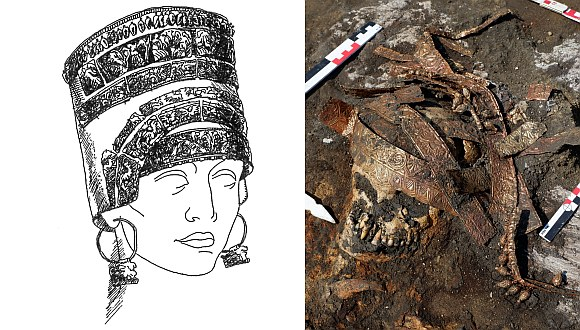 Right: Calaf details in situ. Barrow No. 9 burial ground of the Maiden V. Left: graphic reconstruction of calaf from the mound No. 8 of the Pesochinsky burial ground. Babenko L.I. Pesochinsky burial mound of Scythian time. (Kharkov: Ryder Publishing House, 2005. P. 248, Fig. 15: 3).