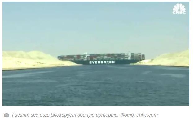 В Суэцкий канал что-бы снять с мели застрявший контейнеровоз отправлены два дноуглубительных судна